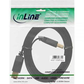(€5,27*/1m) 1.50m InLine USB3.0 Anschlusskabel USB 3.0 USB A Stecker auf USB B Stecker Schwarz flach / vergoldete Stecker