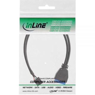 (€26,33*/1m) 0.30m InLine USB3.0 Adapterkabel USB 2.0 Mainboardstecker 10pol auf USB Pfostenstecker 19pol schwarz intern
