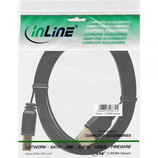 1.50m InLine USB2.0 Anschlusskabel USB A Stecker auf USB B Stecker Schwarz flach / vergoldet