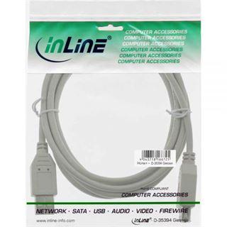 (€3,90*/1m) 1.00m InLine USB2.0 Verlängerungskabel USB A Stecker auf USB A Buchse Grau