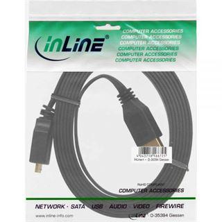 (€2,97*/1m) 3.00m InLine USB3.0 Anschlusskabel USB A Stecker auf USB mikroB Stecker Schwarz flach