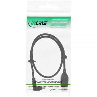 (€7,80*/1m) 0.50m InLine USB2.0 Anschlusskabel gewinkelt oben USB A Stecker auf USB miniB Stecker Schwarz
