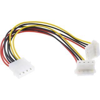(€24,50*/1m) 0.20m InLine Stromkabel Y-Stromadapterkabel gewinkelt unten Molex-Stecker auf 2xMolex Buchse Schwarz/Rot/Gelb