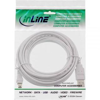 (€0,98*/1m) 5.00m InLine USB2.0 Anschlusskabel USB A Stecker auf USB miniB Stecker Weiß