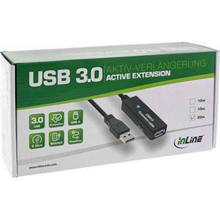 (€3,39*/1m) 15.00m InLine USB3.0 Verlängerungskabel aktiv USB A Stecker auf USB A Buchse Schwarz