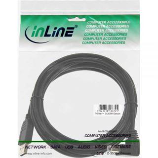 (€0,98*/1m) 5.00m InLine USB2.0 Anschlusskabel USB A Stecker auf USB B Stecker gewinkelt Schwarz