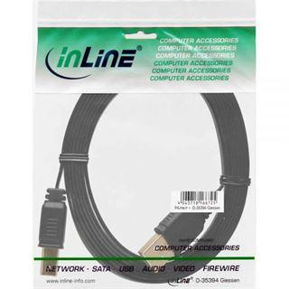 3.00m InLine USB2.0 Anschlusskabel USB A Stecker auf USB B Stecker Schwarz flach / vergoldet