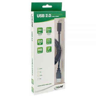 (€3,95*/1m) 2.00m InLine USB2.0 Anschlusskabel USB A Stecker auf USB C Stecker Schwarz