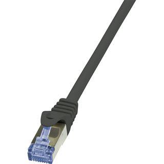(€2,45*/1m) 2.00m LogiLink Cat. 6a Patchkabel S/FTP PiMF RJ45 Stecker auf RJ45 Stecker Schwarz halogenfrei / Twisted Pair