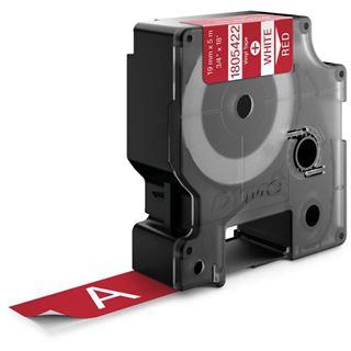 Dymo Vinylband 1805422 für Rhino Etikettendrucker, 19 mm x 5,5 m, weiß auf rot