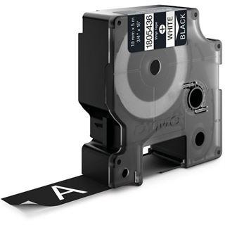 Dymo Vinylband 1805436 für Rhino Etikettendrucker, 19 mm x 5,5 m, weiß auf schwarz