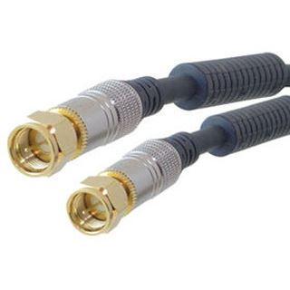 (€3,27*/1m) 1.50m ShiverPeaks Antenne Anschlusskabel Basic-S F Stecker auf F Stecker Schwarz Kupfer / vergoldet