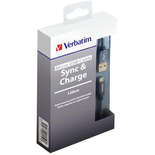 (€9,92*/1m) 1.20m Verbatim USB2.0 Anschlusskabel USB A Stecker auf USB mikroB Stecker Grau