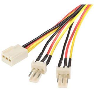 (€23,00*/1m) 0.30m Startech Lüfter Y-Stromadapterkabel 3pol Buchse auf 2x3pol Stecker Schwarz/Rot/Gelb