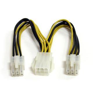 (€72,67*/1m) 0.15m Startech PCI Express Y-Stromadapterkabel 6pol PCIe Buchse auf 2x6pol PCIe Stecker Schwarz/Gelb