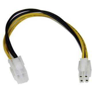(€24,50*/1m) 0.20m Startech Stromkabel Verlängerungskabel 4pol P4 Buchse auf 4pol P4 Stecker Schwarz/Gelb