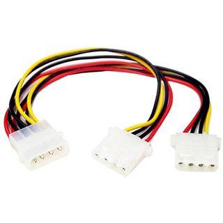 (€24,50*/1m) 0.20m Startech Stromkabel Y-Stromadapterkabel Molex-Stecker auf 2xMolex Buchse Schwarz/Rot/Gelb