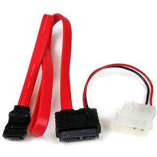 """(€21,80*/1m) 0.50m Startech SATA Anschlusskabel SATA Stecker + 5,25"""" Molex Strom Stecker auf SATA Slimline Stecker Rot"""