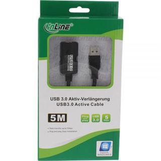 (€2,98*/1m) 5.00m InLine USB3.0 Verlängerungskabel aktiv USB A Stecker auf USB A Buchse Schwarz