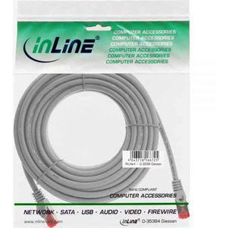 (€0,99*/1m) 10.00m InLine Cat. 6 Patchkabel S/FTP PiMF RJ45 Stecker auf RJ45 Stecker Grau halogenfrei