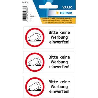 """Herma Hinweisetiketten """"Bitte keine Werbung einwerfen"""""""