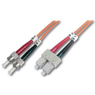 3.00m Digitus LWL Duplex Patchkabel 62,5/125 µm OM1 2x ST Stecker auf 2x SC Stecker Orange LSOH