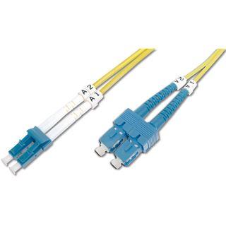(€1,09*/1m) 10.00m Digitus LWL Duplex Patchkabel 9/125 µm OS2 LC Stecker auf SC Stecker Gelb