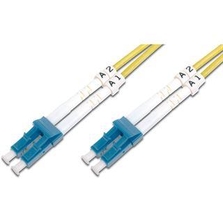(€1,98*/1m) 5.00m Digitus LWL Duplex Patchkabel 9/125 µm OS2 LC Stecker auf LC Stecker Gelb