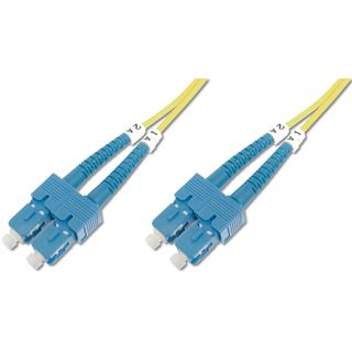 (€1,09*/1m) 10.00m Digitus LWL Duplex Patchkabel 9/125 µm OS1 ST Stecker auf SC Stecker Gelb halogenfrei