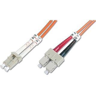 (€1,98*/1m) 5.00m Digitus LWL Duplex Patchkabel 50/125 µm OM2 LC Stecker auf SC Stecker Orange