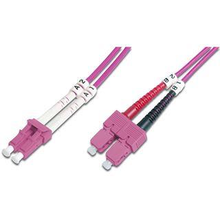 (€4,45*/1m) 2.00m Digitus LWL Duplex Patchkabel 50/125 µm OM4 LC Stecker auf SC Stecker Violett LSOH