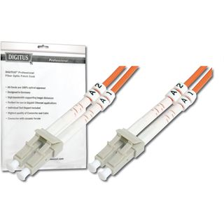 (€1,19*/1m) 10.00m Digitus LWL Duplex Patchkabel 62,5/125 µm OM1 2x LC Stecker auf 2x LC Stecker Orange LSOH