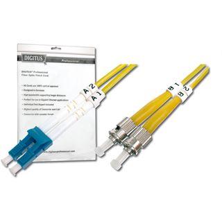 (€1,98*/1m) 5.00m Digitus LWL Duplex Patchkabel 9/125 µm OS2 LC Stecker auf ST Stecker Gelb