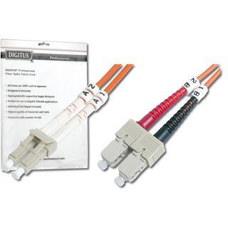 (€1,19*/1m) 10.00m Digitus LWL Duplex Patchkabel 50/125 µm OM2 LC Stecker auf SC Stecker Orange