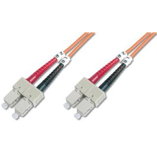 (€12,90*/1m) 1.00m Digitus LWL Duplex Patchkabel 50/125 µm OM2 SC Stecker auf SC Stecker Orange