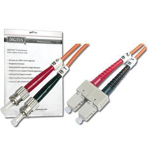 (€0,99*/1m) 10.00m Digitus LWL Duplex Patchkabel 50/125 µm OM2 ST Stecker auf SC Stecker Türkis