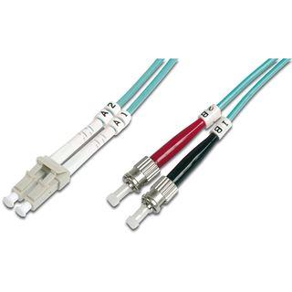 (€8,90*/1m) 1.00m Digitus LWL Duplex Patchkabel 50/125 µm OM3 ST Stecker auf LC Stecker Türkis Keramik Ferrule