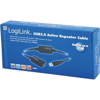 (€0,72*/1m) 25.00m LogiLink USB2.0 Verlängerungskabel aktiv USB A Stecker auf USB A Buchse Schwarz