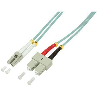 (€1,98*/1m) 5.00m LogiLink LWL Duplex Patchkabel 50/125 µm OM3 LC Stecker auf SC Stecker Türkis LSZH