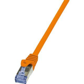 (€9,80*/1m) 0.50m LogiLink Cat. 7 Rohkabel Patchkabel S/FTP RJ45 Stecker auf RJ45 Stecker Orange Klinkenschutz / vergoldet