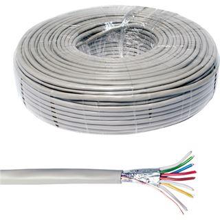 (€0,34*/1m) 100.00m LogiLink Telefon Verlegekabel 4-adrig ohne Stecker Grau geschirmt / PVC