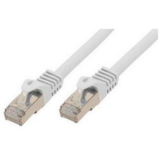 (€21,80*/1m) 0.50m ShiverPeaks Cat. 7 Rohkabel Patchkabel S/FTP PiMF RJ45 Stecker auf RJ45 Stecker Weiß halogenfrei / vergoldet