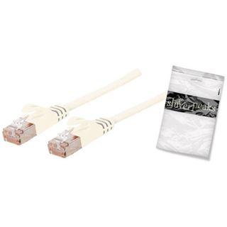 (€9,80*/1m) 0.50m ShiverPeaks Cat. 7 Rohkabel Patchkabel flach U/FTP RJ45 Stecker auf RJ45 Stecker Weiß Rastnasenschutz