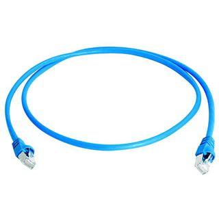 (€4,45*/1m) 2.00m Telegärtner Cat. 6a Patchkabel S/FTP PiMF RJ45 Stecker auf RJ45 Stecker Blau halogenfrei / Knickschutzelement