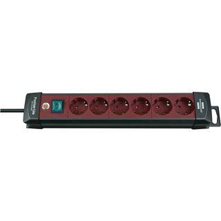 (€5,63*/1m) 3.00m Brennenstuhl Premium-Line Steckdosenleiste mit Schalter Schwarz/Rot 6 (1951760100)