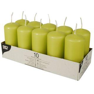 PAPSTAR Stumpenkerzen, 40 mm, kiwi, 10er Pack