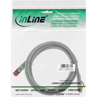 (€4,90*/1m) 1.00m InLine Cat. 6 Patchkabel S/FTP PiMF RJ45 Stecker auf RJ45 Stecker Grau halogenfrei / Kupfer