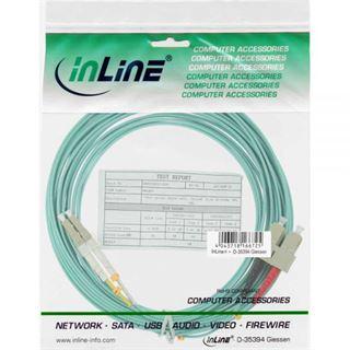 (€4,95*/1m) 2.00m InLine LWL Duplex Patchkabel 50/125 µm OM3 LC Stecker auf SC Stecker Türkis halogenfrei