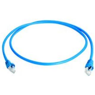 (€27,60*/1m) 0.25m Telegärtner Cat. 6a Patchkabel flach S/FTP PiMF RJ45 Stecker auf RJ45 Stecker Blau halogenfrei