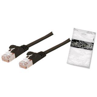 (€4,90*/1m) 1.00m ShiverPeaks Cat. 7 Rohkabel Patchkabel flach S/FTP PiMF RJ45 Stecker auf RJ45 Stecker Schwarz halogenfrei / vergoldet